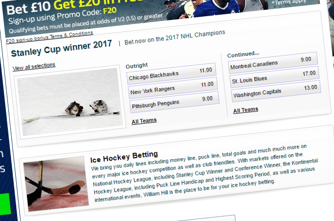 Online Ice Hockey Betting Odds Explained 60 Pre Match Goals And
